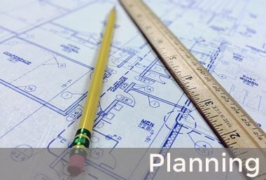 Blueprint with pencil and ruler